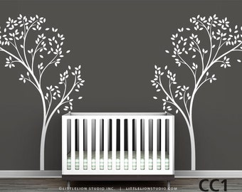 Tree Canopy Wall Decal - White tree decal, brown tree, pink tree - Very large trees - Modern Nursery Wall Decor