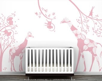 Pink Kids Playroom Wall Decal Set - Eat, Play and Sleep - Special Editions by LittleLion Studio