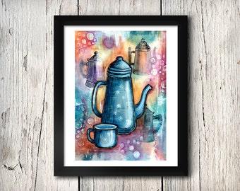 Coffee Pots Print - Giclee Fine Art Print - Mixed Media