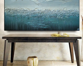 Large Original Abstract Impasto Texture Silver Gray Aqua Turquoise Beach Blue Pebbled Metallic Water Oil Painting by Je Hlobik