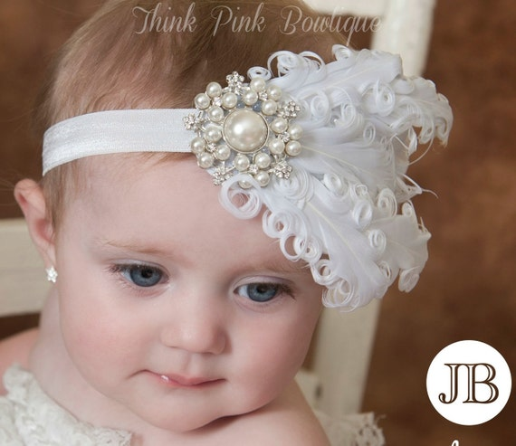 White Baby headband Baby headbandswhite feather por ThinkPinkBows