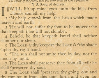 Antique Bible Page - Psalm 121 - I Will Lift Up Mine Eyes - Digital Download Printable  for Papercrafts, Transfers, Pillows, Scrapbooks, etc