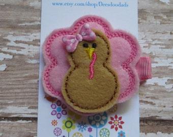 Prissy Pink Turkey Felt Hair Clip - Feltie Clip