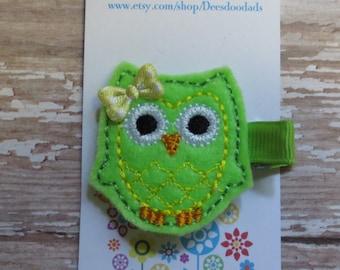 Bright Green Felt Ollie the Owl Hair Clip - Clippie - Felt Clip