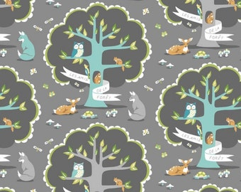 Woodland in Gray (ps5793)  - LES AMIS - Michael Miller Fabric - By the Yard