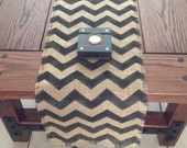 Rustic Burlap Chevron Table Runner 12-14 x 72, 84 and 96 in Black, Hand-Painted Grain Sack Table Decor
