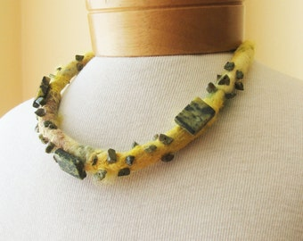 Felted necklace, felted collar, felt necklace,  wool collar, felt jewelry, gift, fiber art  Yellow necklace with natural stone