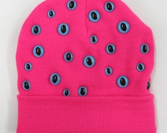 Neon Pink and Blue Kitty Eye Beanie
