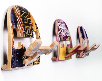 Wall or Coat Hook - Set of (3) three wall hooks. Made from Recycled Skateboards by Deckstool