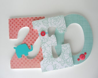 Wooden Wall Letters, Coral and Teal Nursery Décor, Personalized Baby Name Art, Custom Nursery Letters, Baby Shower Decorations, Wall Art