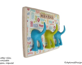 Dog Leash Holder - Triple Tail - I Heart Dogs - Personalize it with Optional Letter Tiles