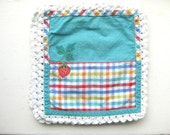 Vintage Teal Gingham and Strawberry Picnic Napkins Set of 5