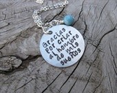 "Spanish quote- Mother in Law Necklace- ""Gracias por criar al hombre de mis sueños"" with an accent bead of your choice"