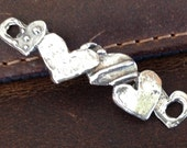 Artisan Heart Bracelet Component - Large Sterling Silver - Rustic Hearts in a Row Link AC126