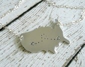 Hand Stamped United States Shaped Necklace - Two Hearts Connected - Personalized