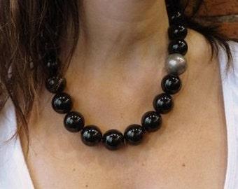 Big Black Stone Necklace, Shiny Onyx Necklace, Black Gemstones Necklace, Silver Plated Globe Bead, Statement Necklace, Onyx Silver Necklace