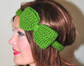 St. Patrick's day Headband Headwrap Big Bow Kelly Green Crochet Headband Girly Cute Adjustable Christmas Gift under 25