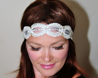 Lace Headband Great Gatsby Cream Beige Hair band Beige Headwrap Stretch Headcovering Vintage Headband Wedding Gift under 25