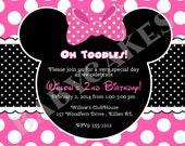 Minnie Mouse Invitation, Minnie Mouse Birthday Invitation, minnie birthday invitation, minnie party invitation pink