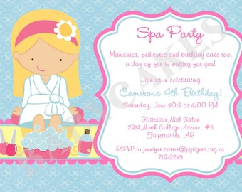 Spa Party Birthday Invitation - Choose your girl - DIY Print Your Own - Matching Party Printables available.