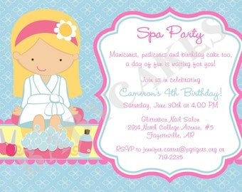 Spa Party Birthday Invitation Invite Spa Birthday Party Printable Invitation CHOOSE YOUR GIRL