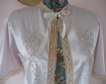 1940's Lingerie Blouse, Bed Jacket Silk & Lace