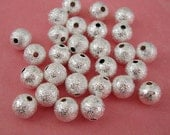 20-Stardust Spacer Beads Round Bright Silver Plated Brass 6mm.