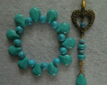 Set of Handmade Turquoise Pendant and Bracelet