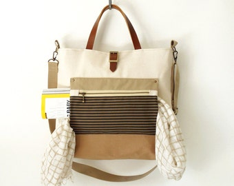 Camel beige and ivory canvas Tote / shoulder bag with front ZipPocket, Design by BagyBags