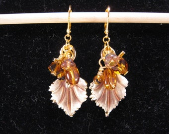 Upcycled Vintage Earrings, Bridesmaid Gift, Gold, Copper, Glass, Amber, Leaves, Pierced, Reclaimed, Boho, Coupon Code, OOAK - Amber Dewdrops