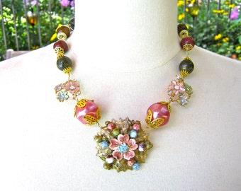 Statement Necklace, Reclaimed Vintage Necklace, Vintage Brooch, Enamel Flower, Hand Wired,Wine, Gold, Pink, Green, Jennifer Jones - Mauve