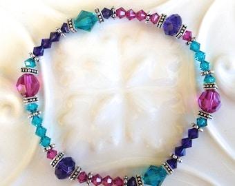 Purple Pink Blue Crystal Stretch Bracelet in Silver