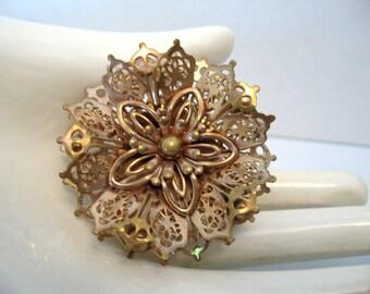 Vintage BARCLAY Goldtone Snowflake - Flower Filigree Brooch - Pendant