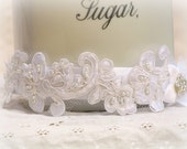 Bridal Lace Headband - Snow White Lace Headpiece - Pearls And Rhinestone Wedding Head Piece - SUGER BABY