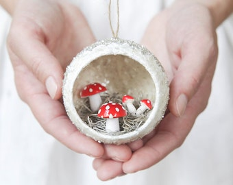 Diorama Christmas Ornament with Spun Cotton Mushrooms, Mica, and German Glass Glitter