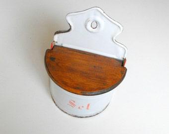 Antique French Enamelware Salt Box