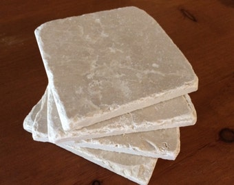 "Drink Coasters White Stone Coasters 4"" x 4"" Absorbent Natural Tumbled Stone, Marble, Shabby Chic, Cream, Cottage Decor"