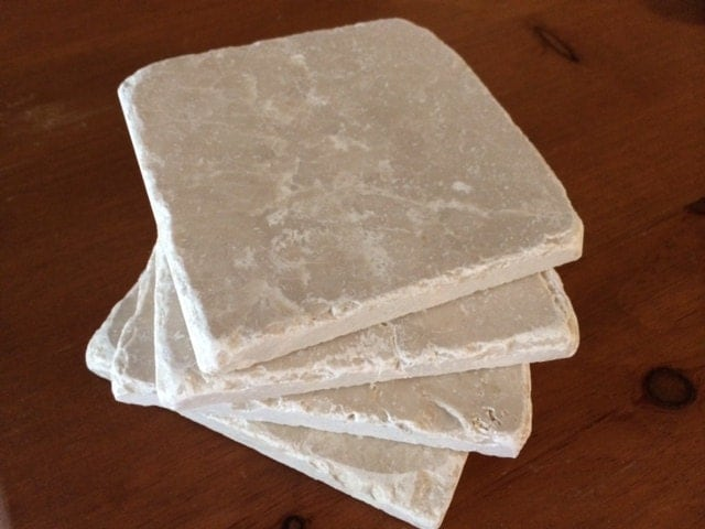 Drink coasters white stone coasters 4 x 4 - Stone absorbent coasters ...