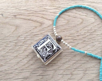 "Initial Monogram Letter ""F"" Glass Tile Pendant Necklace With Turquoise and Silver Beads"