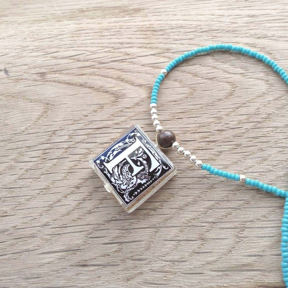 """Initial Monogram Letter """"F"""" Glass Tile Pendant Necklace With Turquoise and Silver Beads"""