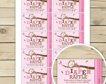 Girl Monkey Baby Shower Diaper Raffle Ticket - Girl Baby Shower Games Printable - Instant Download - Pink Baby Shower Diaper Raffle Cards
