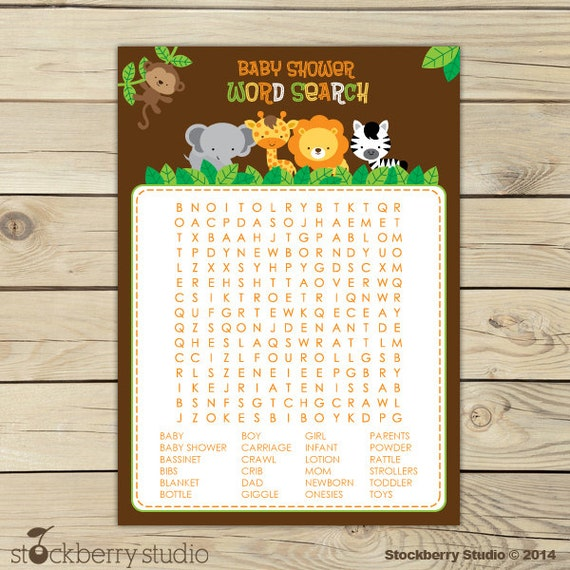safari animals baby shower word search game jungle baby shower