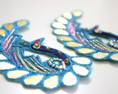 SALE Peacocky Paisleys - Applique paisley pair in blue with sequins and rhinestones (2)
