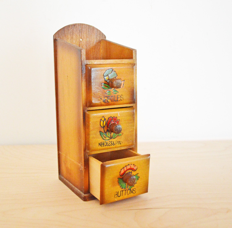 Sale vintage three drawer wood storage box wooden sewing
