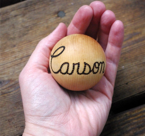 Personalized Waldorf Baby Ball, Wooden Toy Heirloom Baby Gift