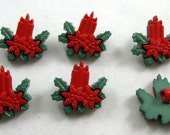 Christmas Candle Buttons in Red and Green Set of Six