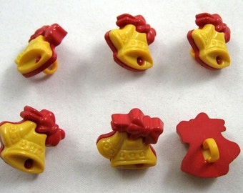 Christmas Bell Buttons in Yellow and Red No.103