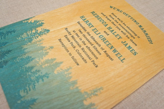 Real Wood Wedding Invitations - Pine Forest Blue