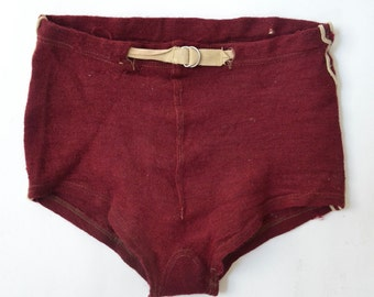 1940s Maroon Wool Swim Trunks
