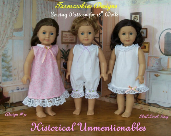 """PRINTED SEWING PATTERN  / Historical Unmentionables   / Sewing Pattern for American Girl or other 18"""" Doll"""